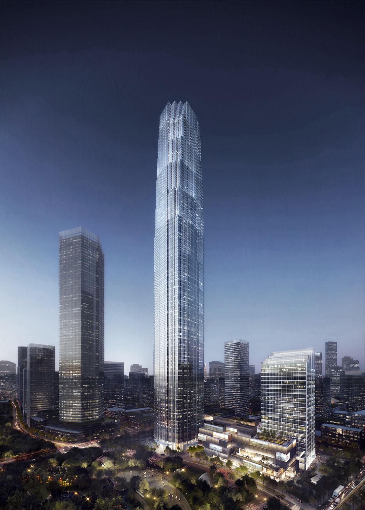 新浪微博_绿地山东国际金融中心 | SOM - 品素品设计